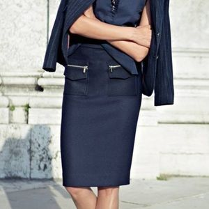 J Crew The Pencil Skirt in Navy Wool Blend w/Patch Pockets